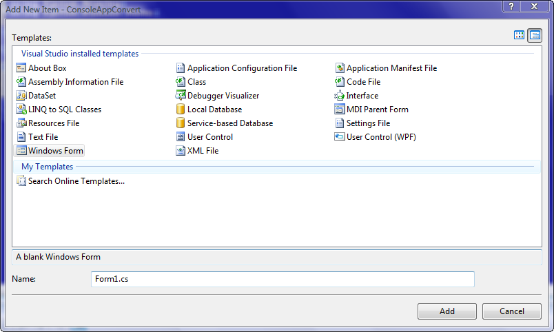 how to call windows form app in c